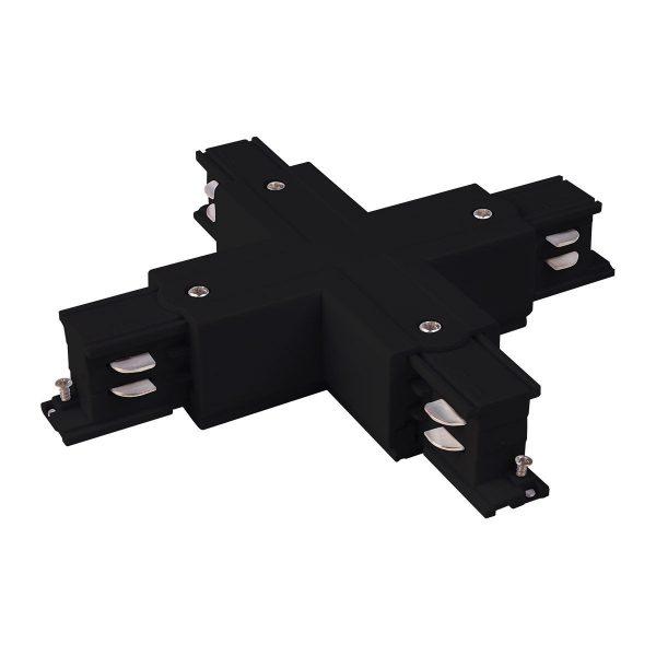 Коннектор X-образный для трехфазного шинопровода черный TRC-1-3-X-BK