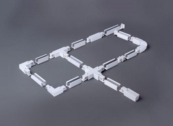 Коннектор X-образный для трехфазного шинопровода белый TRC-1-3-X-WH 1