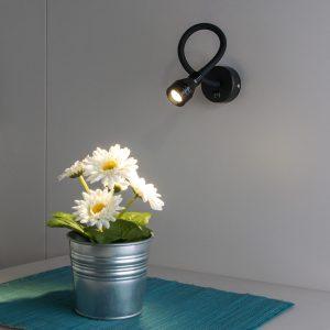 Черный настенный светодиодный светильник с включателем нейтрального света