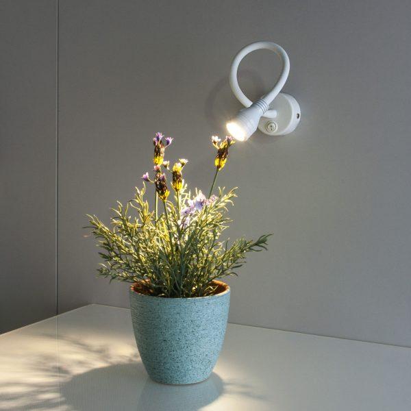 Белый настенный светодиодный светильник с гибкой ножкой с включателем нейтрального света