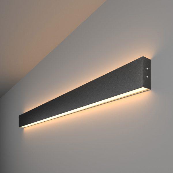 Линейный светодиодный накладной двусторонний светильник 103см 40Вт черная шагрень 1