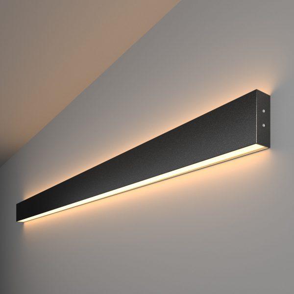 Линейный светодиодный накладной двусторонний светильник 128см 50Вт черная шагрень 1