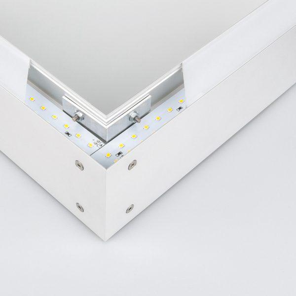 Линейный светодиодный накладной двусторонний светильник 128см 50Вт матовое серебро 1