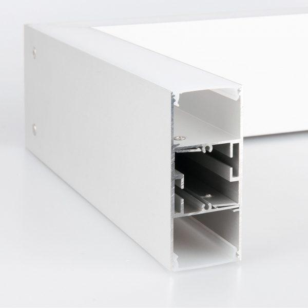 Линейный светодиодный накладной двусторонний светильник 128см 50Вт матовое серебро 3