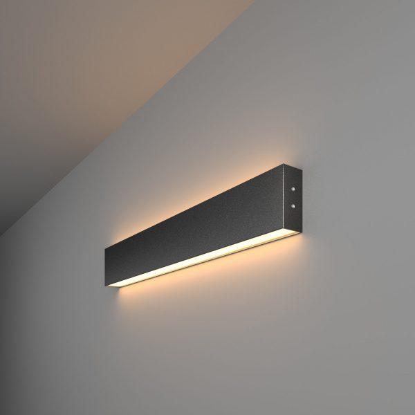 Линейный светодиодный накладной двусторонний светильник 53см 20Вт черная шагрень 1
