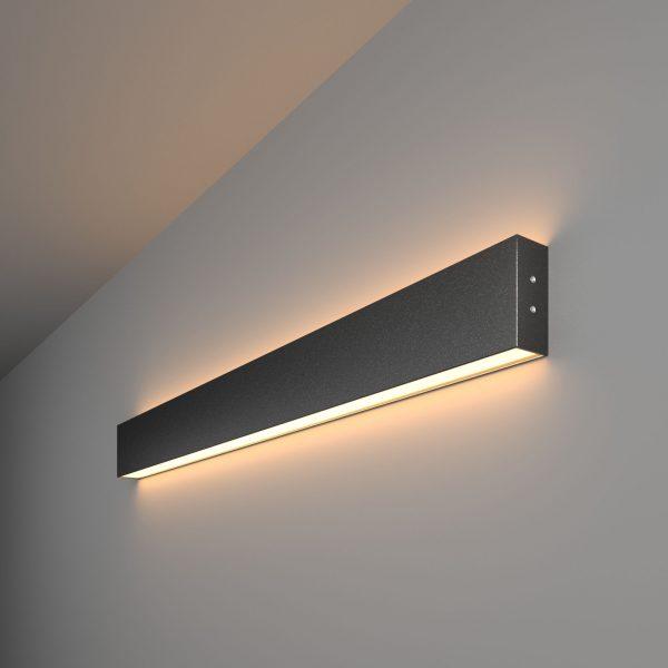 Линейный светодиодный накладной двусторонний светильник 78см 30Вт черная шагрень 1