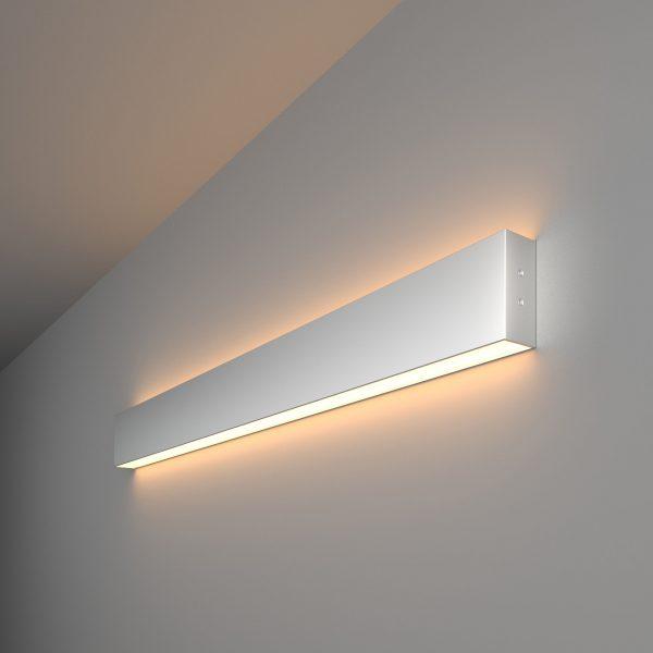 Линейный светодиодный накладной двусторонний светильник 78см 30Вт матовое серебро 1