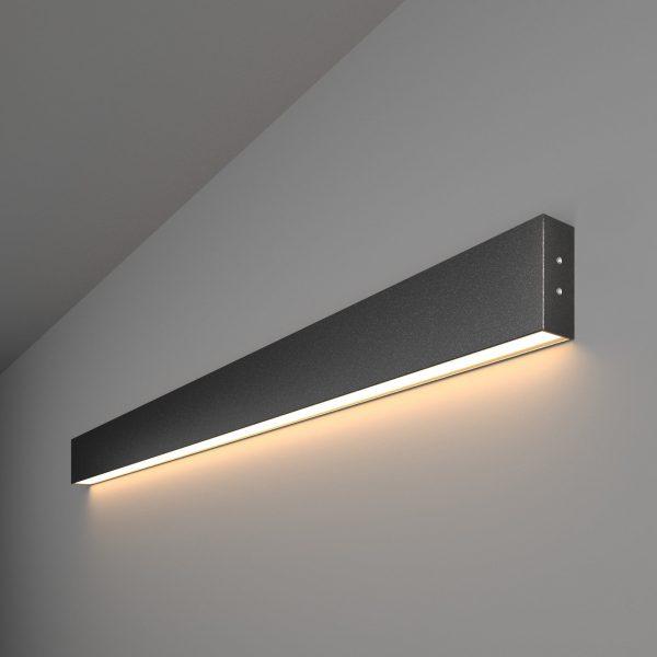 Линейный светодиодный накладной односторонний светильник 103см 20Вт черная шагрень 1