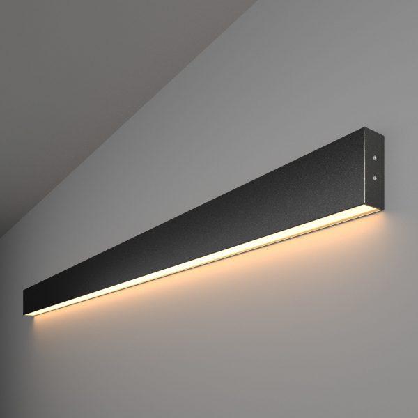 Линейный светодиодный накладной односторонний светильник 128см 25Вт черная шагрень 1