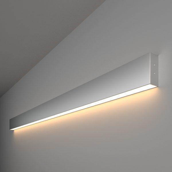 Линейный светодиодный накладной односторонний светильник 128см 25Вт матовое серебро 1