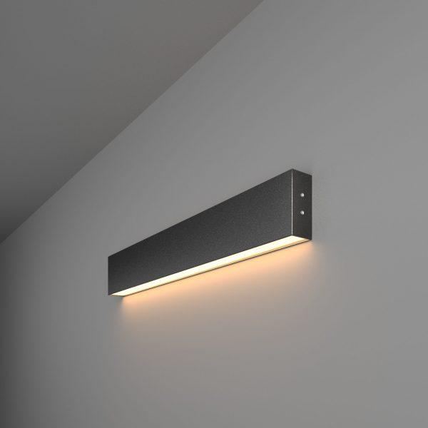 Линейный светодиодный накладной односторонний светильник 53см 10Вт черная шагрень 1