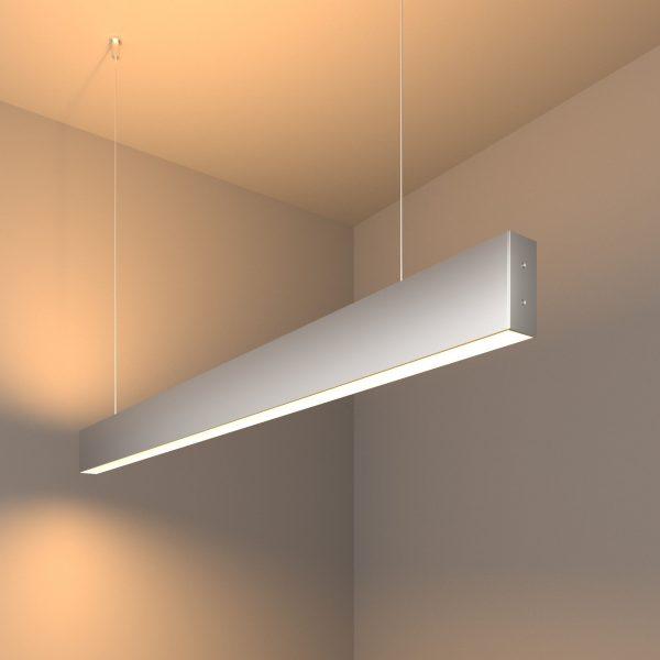 Линейный светодиодный подвесной двусторонний светильник 103см 40Вт матовое серебро 1