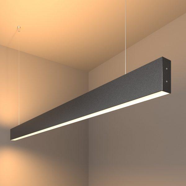 Линейный светодиодный подвесной двусторонний светильник 128см 50Вт черная шагрень 1