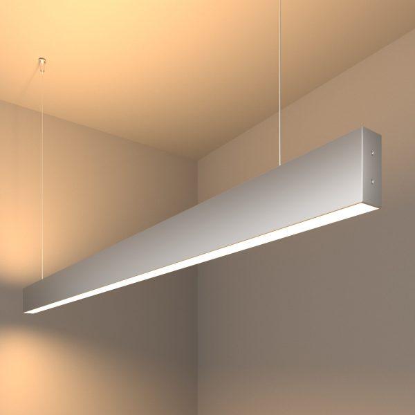 Линейный светодиодный подвесной двусторонний светильник 128см 50Вт матовое серебро 1