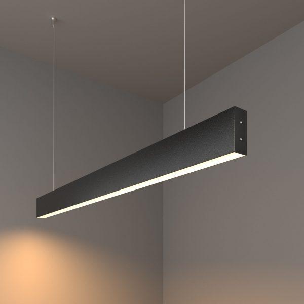 Линейный светодиодный подвесной односторонний светильник 103см 20Вт черная шагрень 1