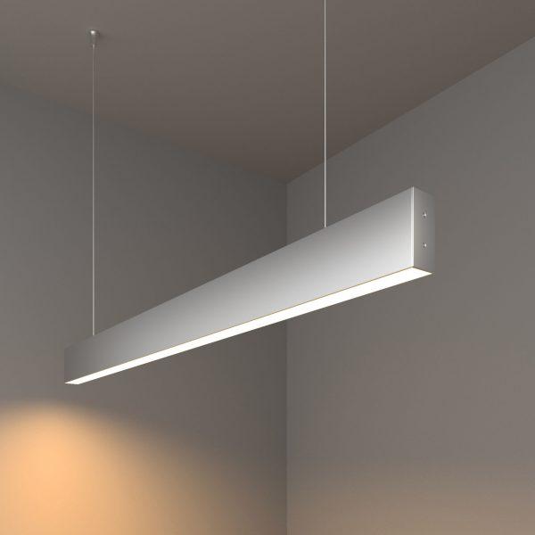 Линейный светодиодный подвесной односторонний светильник 103см 20Вт матовое серебро 1