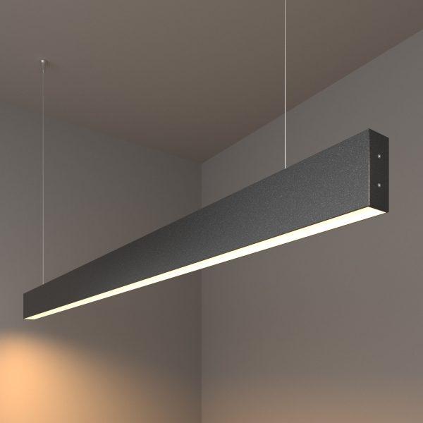 Линейный светодиодный подвесной односторонний светильник 128см 25Вт черная шагрень 1
