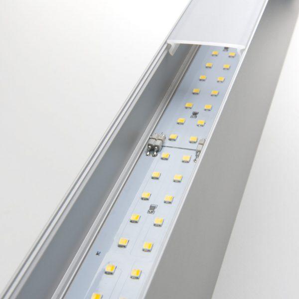 Линейный светодиодный подвесной односторонний светильник 128см 25Вт матовое серебро 8
