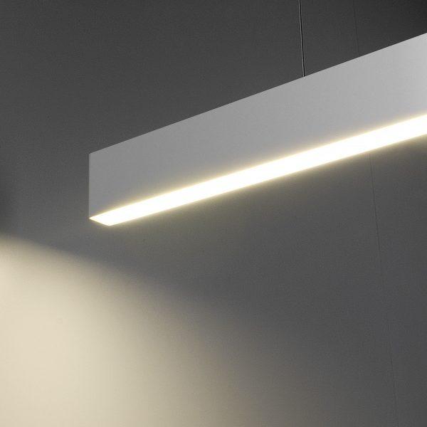 Линейный светодиодный подвесной односторонний светильник 128см 25Вт матовое серебро 2