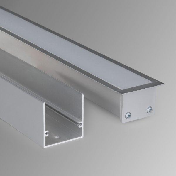 Линейный светодиодный встраиваемый светильник 103см 20Вт матовое серебро 2