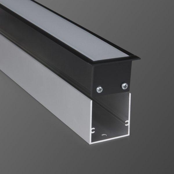 Линейный светодиодный встраиваемый светильник 128см 25Вт черный матовый 1