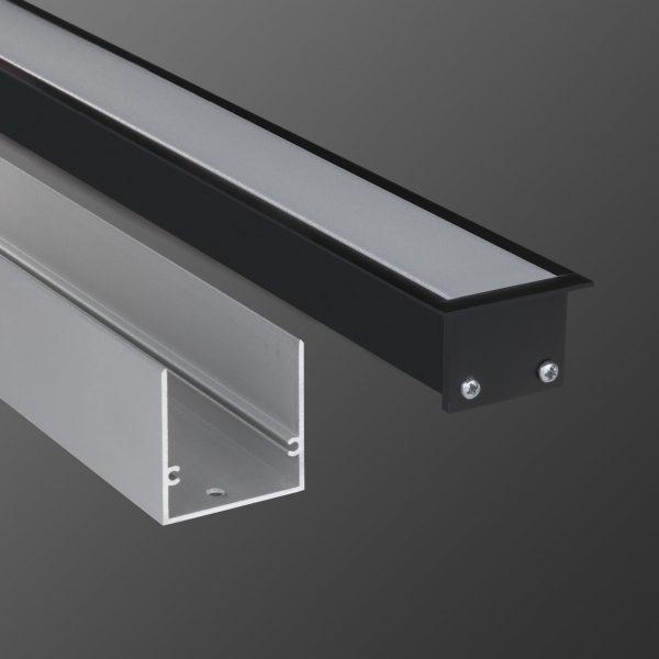 Линейный светодиодный встраиваемый светильник 53см 10Вт черный матовый 1