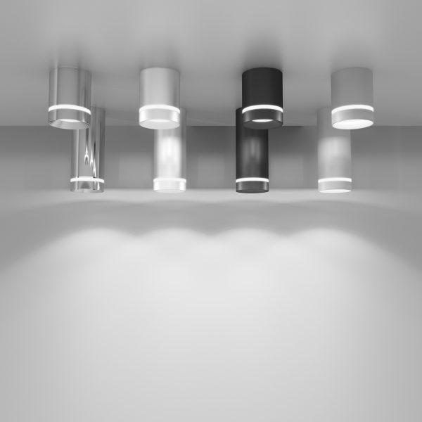 Накладной потолочный светодиодный светильник DLR021 9W 4200K хром 4