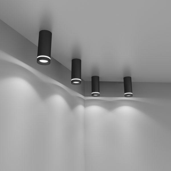 Накладной потолочный светодиодный светильник DLR022 12W 4200K черный матовый 2