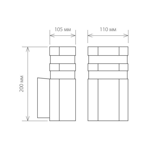уличный настенный светильник 1444 TECHNO черный 3