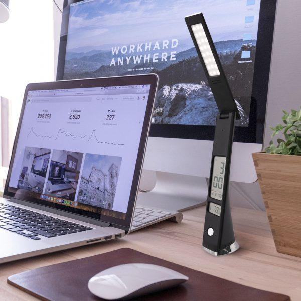 Светодиодная настольная лампа с часами 80504/1 черный 3