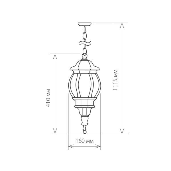 уличный подвесной светильник GL 1001H черное золото 1