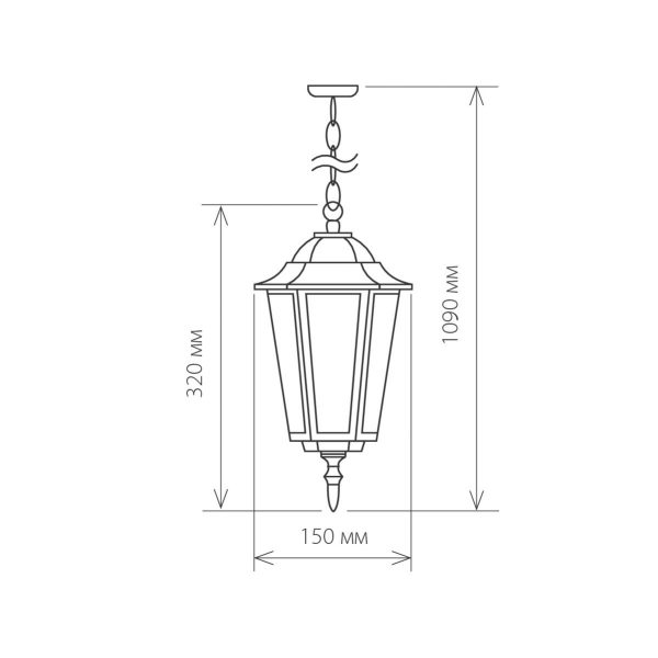 уличный подвесной светильник GL 1004H черное золото 2