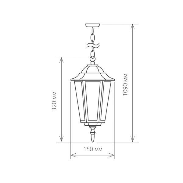 уличный подвесной светильник GL 1004H черный 1