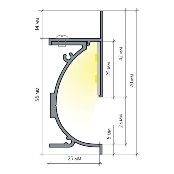 Профиль для светящегося плинтуса и встраиваемых светильников 7023259 7