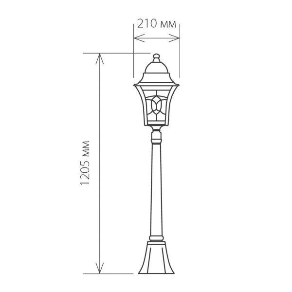 черное золото уличный светильник на столбе Altair F 3