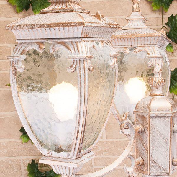 Andromeda F/3  белое золото уличный трехрожковый светильник на столбе GLYF-8024F/3 1