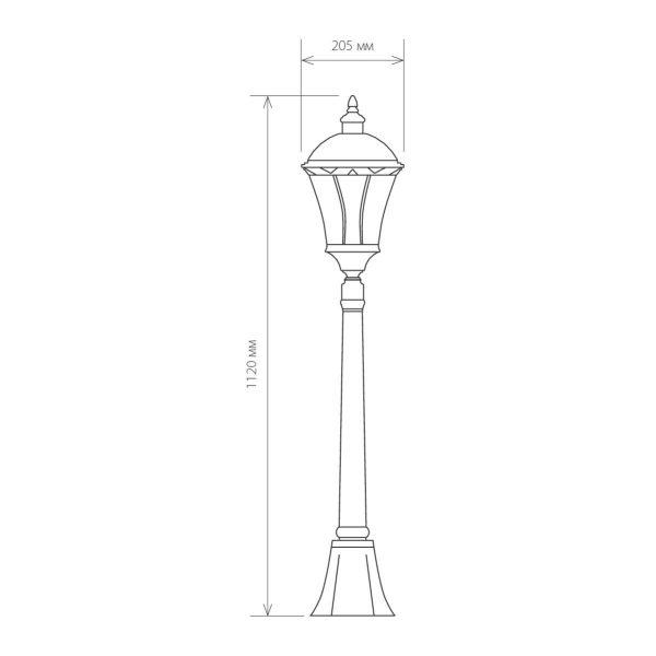 уличный светильник на столбе Capella F черное золото 3