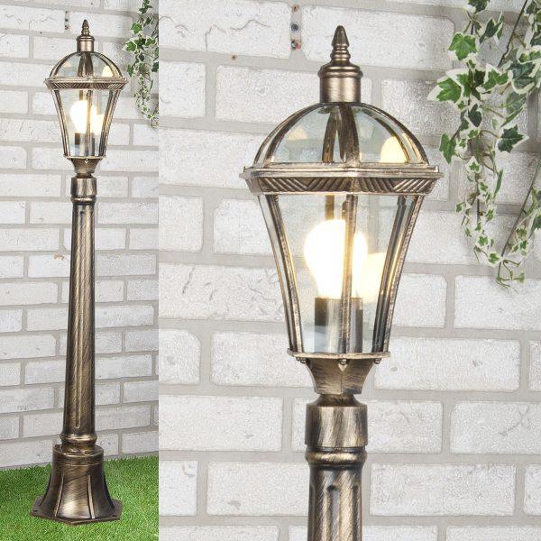 уличный светильник на столбе Capella F черное золото 1