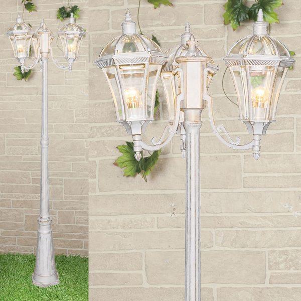 уличный трехрожковый светильник на столбе Capella F/3 белое золото 1