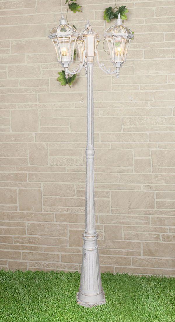 уличный трехрожковый светильник на столбе Capella F/3 белое золото
