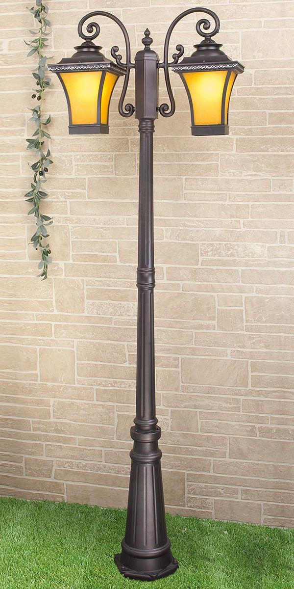 Libra F/2 венге уличный двухрожковый светильник на столбе GLXT-1408F/2