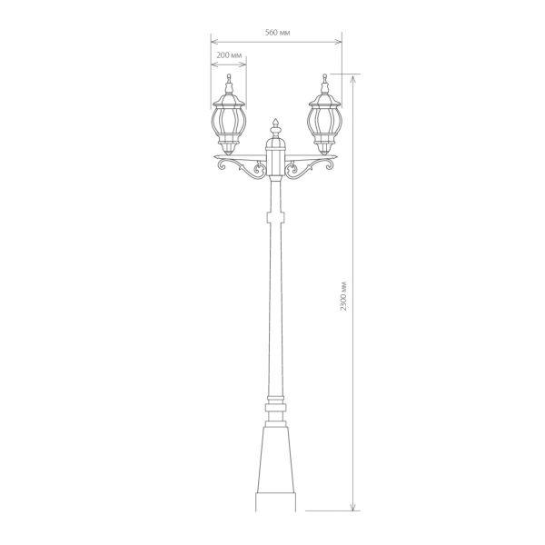 уличный двухрожковый светильник на столбе NLG99HL004 черное золото 1