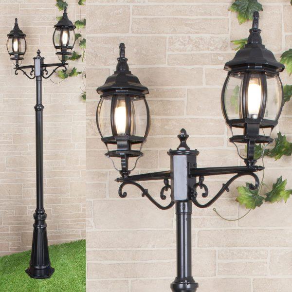 уличный двухрожковый светильник на столбе NLG99HL004 черный 1