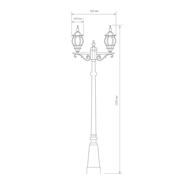 уличный двухрожковый светильник на столбе NLG99HL004 черный 3