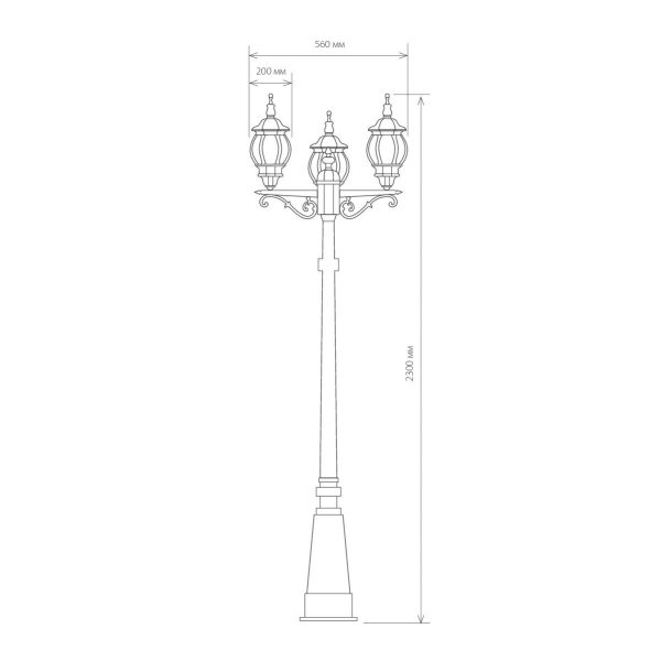 уличный трехрожковый светильник на столбе NLG99HL005 черное золото 3