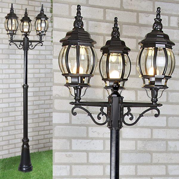 Уличный трехрожковый светильник на столбе NLG99HL005 черный 2