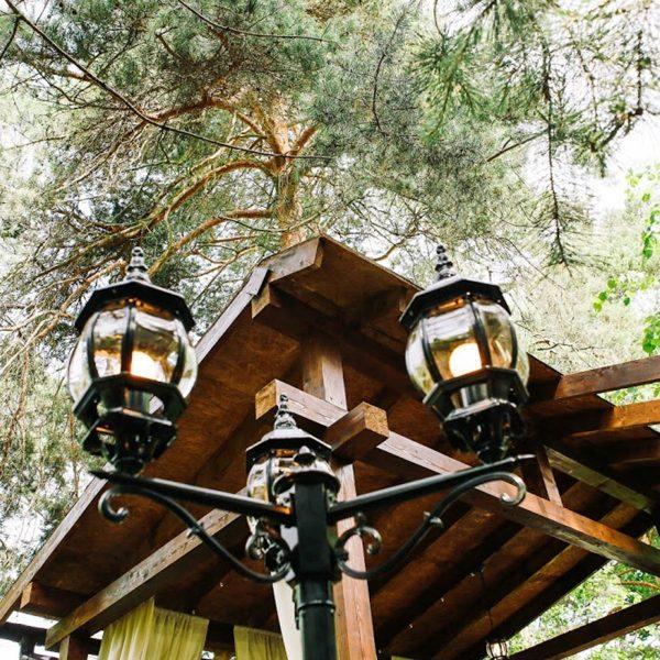 Уличный трехрожковый светильник на столбе NLG99HL005 черный 5