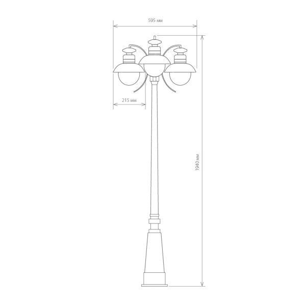 Talli F/3 черный уличный трехрожковый светильник на столбе GL 3002F/3 3