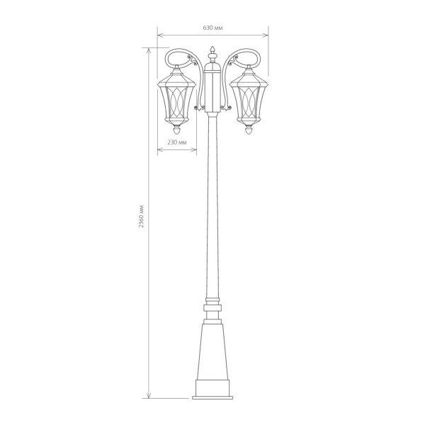 Virgo F/2 черное золото уличный двухрожковый светильник на столбе GLXT-1450F/2 8