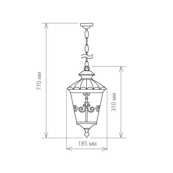 Diadema H черное золото уличный подвесной светильник GLYF-8046H 1